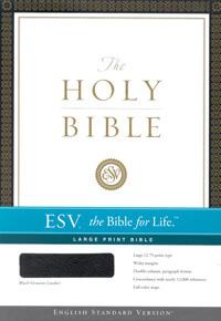 ESV Large Print Bible Black Genuine Leather