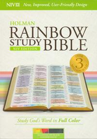 NIV Holman Rainbow Study Bible Black LeatherTouch