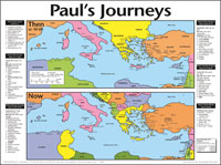 Chart: Pauls Journeys Then and Now (Laminated)