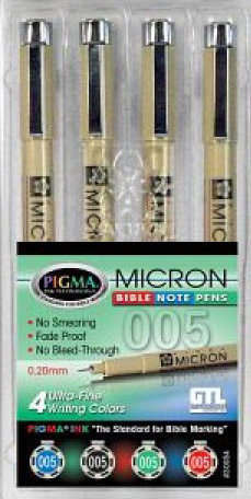 Micron Pigma Bible Note Pens - 4 ultra fine